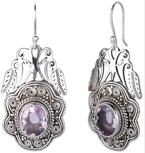 Srling Silver Earrings with Oval Cut Amethyst