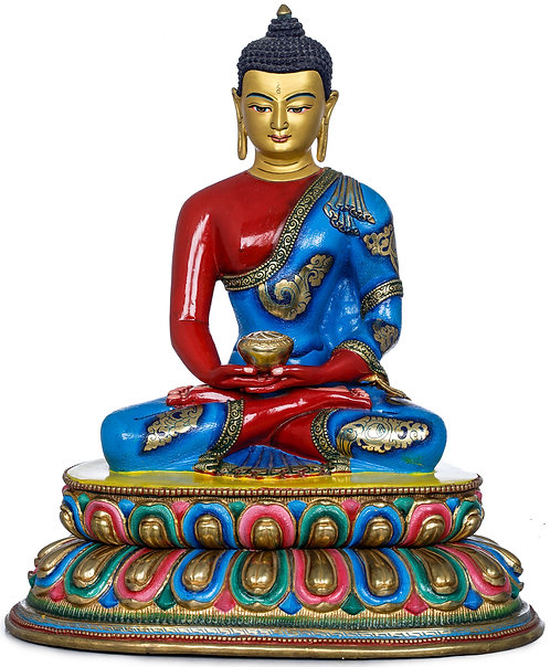 Statue, Lord Buddha, Copper, Fully Hand Painted, 11 Inch, Shakyamuni, New!