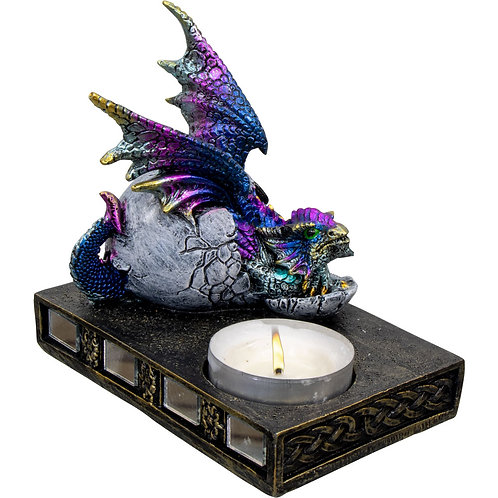 Hatching Dragon T-Light Holder - Blue/Purple