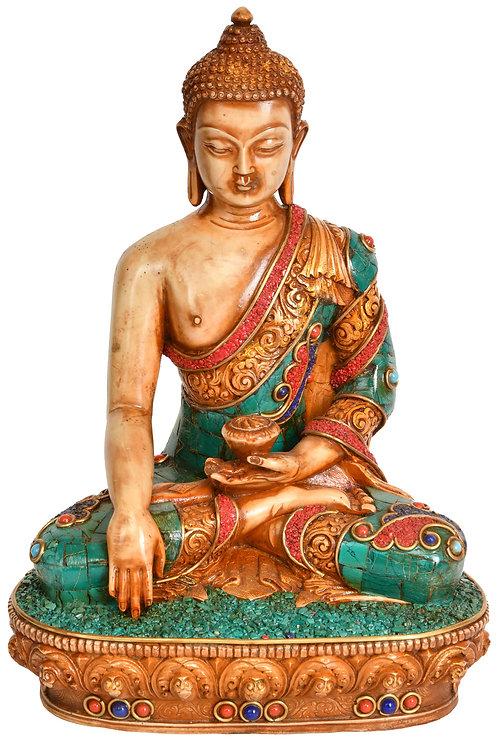 Statue, Shakyamuni Buddha, Wood, Sparsha, Hand Carved, Hand Painted
