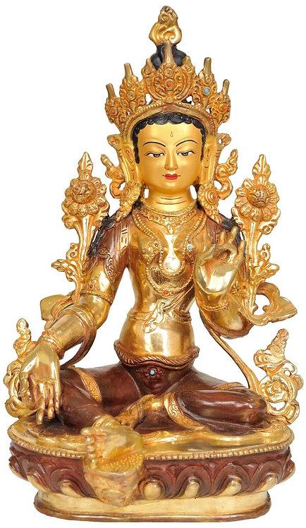 Statue, Green Tara, 13in Tall, 24K Gold Gilded, Buddha, Sale