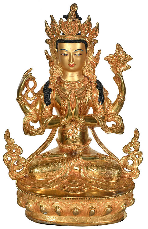 Statue, Chenrezig, 24K Gold, 12 in tall, Buddha of Compassion, Avalokit