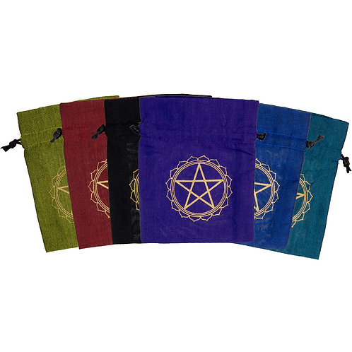 6 Assorted Pouches with Pentagram printing, wicca, witchcraft, spells