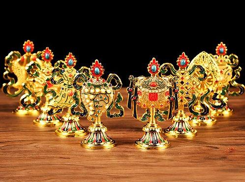 Auspicious Symbols, 8 Lucky Symbols, Tibetan, Nepal, Figurines, Buddha, OM