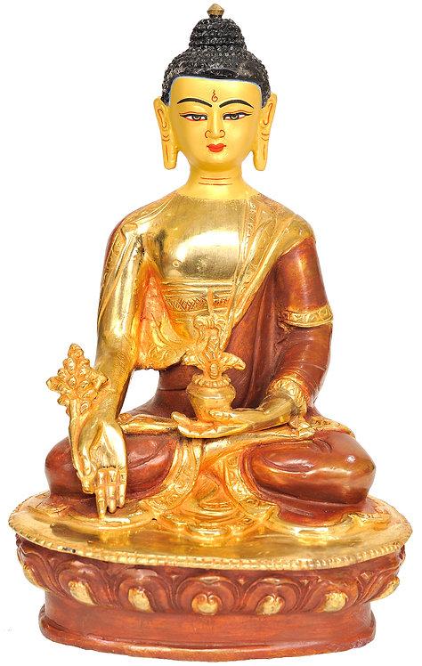 Statue, Medicine Buddha, 24K Gold, Copper, 8 in tall, Buddhist, Tibetan