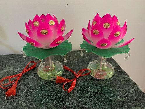 Lighting, Home Decor, Lotus Lights, Pair, Water Base