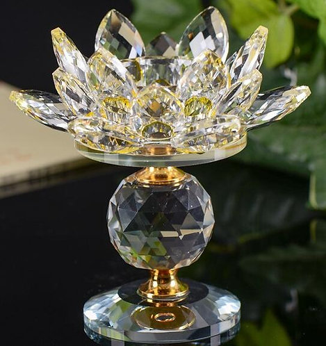 Crystal Gold Lotus Flower Candlestick in pairs for teal Lights or Pillars