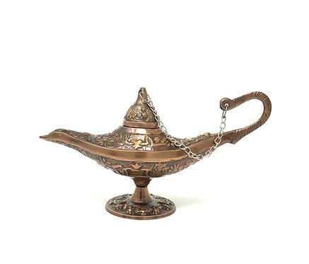 Aladdin Lamp, Brass, Copper Finish, 6 Inch