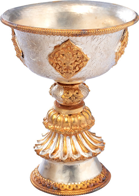 Butter Lamp, 24K Gold, Copper, Tibetan, Ritual, Shrine, Altar, Offering