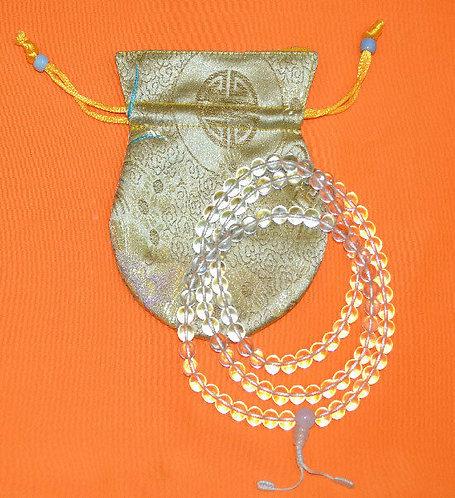 Mala, Pure Clear Crystal, 108 Beads, Handmade, Free Bag