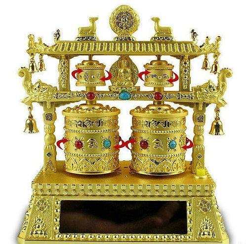 Prayer Wheel, Double Wheel, Pagoda, Solar, Battery, Gold