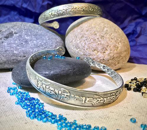 Bracelet, Cuff, Tibetan Silver, Mantra, Om