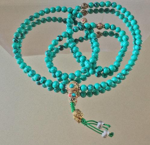 Mala, Turquoise, Lapis, 108 Beads, Cobalt, HQ Beads, Handmade, #Buddha, #sale