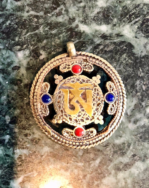 """Tibetan Brass, Silver, Turquoise, Coral and Lapis """"OM FRONT/ DORJE BACK"""" Pendant"""
