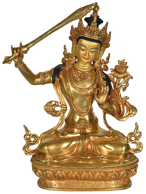 Statue, Manjushri, 24K Gold,12 inches Tall, Very Fine, Only One, Copper