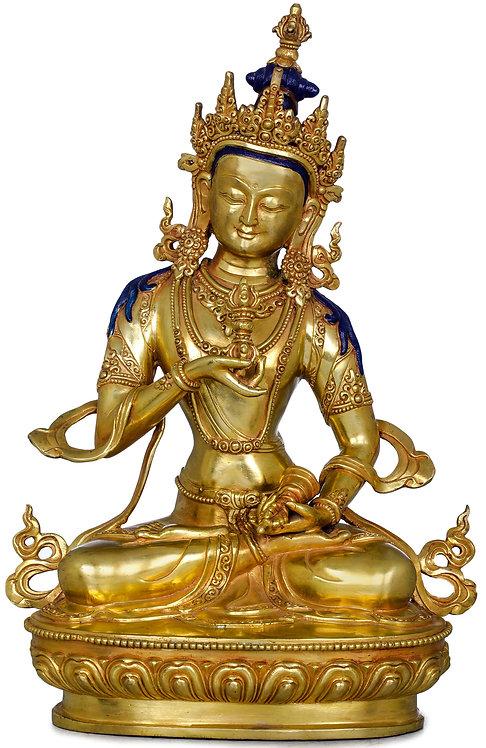 Statue, Vajrasattva, 24K Gold, 12 inches Tall, Fine, Only One, Copper
