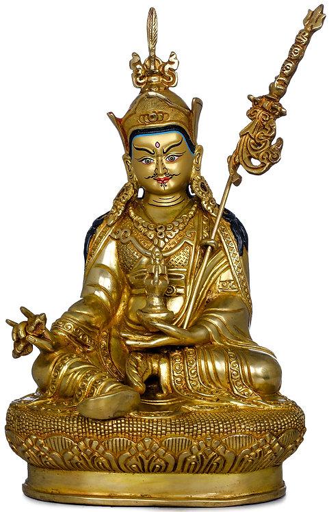 Statue, Guru Rinpoche, 24K Gold, Very Fine, 9 inches Tall, OM, Buddha