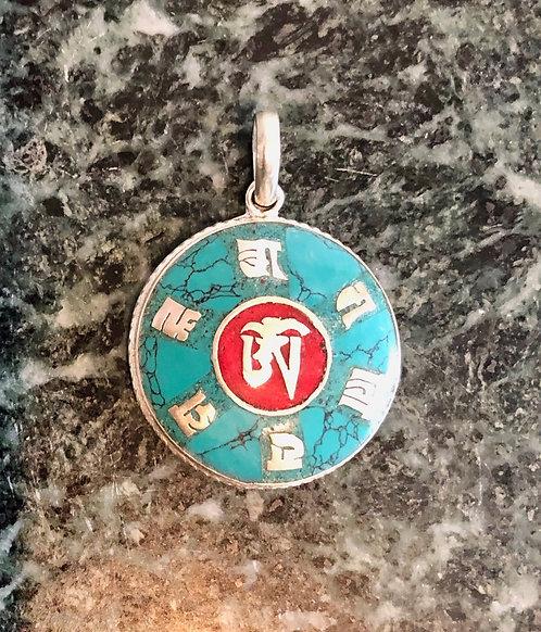 "Tibetan Sterling Silver ""Om Mani Peme Hung"" Pendant"