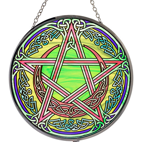 Large Glass Pentagram, Pentacle Sun catcher 6in