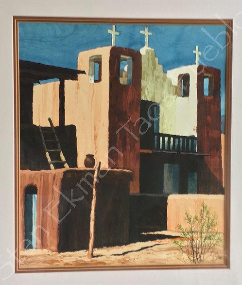 Original Watercolor, Stanley Eckman, The Taos Pueblo, Museum Framed, #Collectors