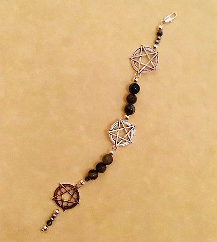 Bracelet, Pentagram, Witchcraft, Wicca, Sterling Silver, Steel, #wiccan #Sale