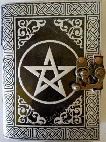 Witchcraft, Wiccan Book of Shadows with Silver Pentagram