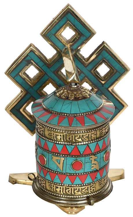 Prayer Wheel, Brass, Turquoise, Coral, Wall Mount, 6in, Lucky Signs