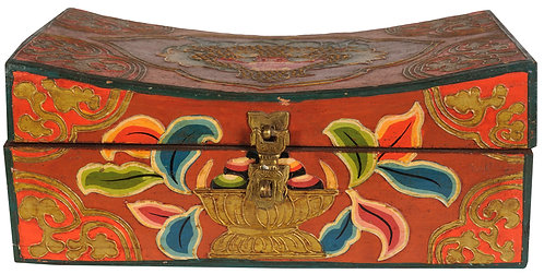 Box, Tibetan, Wood, Ritual, Hand Made and Painted, Each Unique, Medium, New!