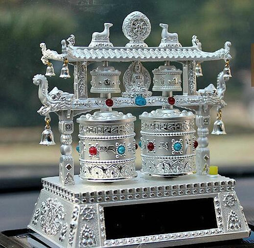 Prayer Wheel, Double Wheel, Pagoda, Solar, Battery, Silver, Music, Mantras