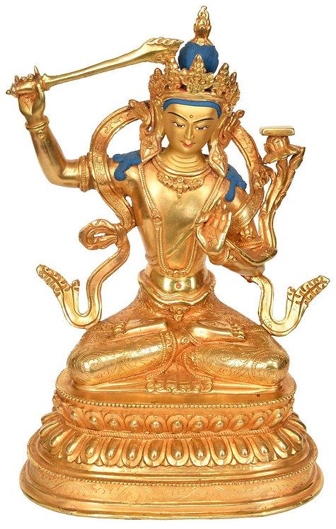 Statue, Manjushri, 24K Gold, 10in tall, Only One, Sale, OM