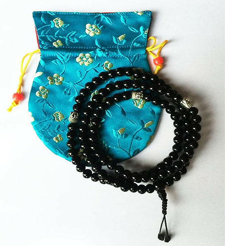Mala, Black Onyx, 108 Beads, Spacers, Handmade, Free Bag