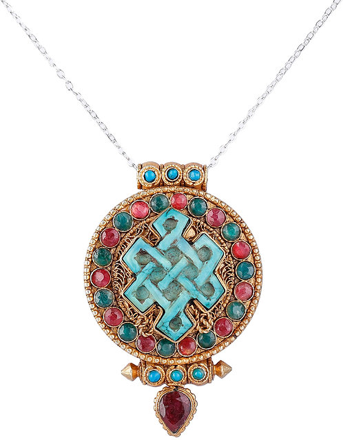 Gold Plated Filigree Gau Box Pendant with Ruby Coral and Endless Knot Shaped Tur