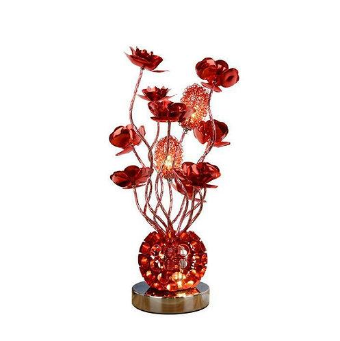 Desk Lamp, Custom, Red Flowers, Vase Shape Base, LED
