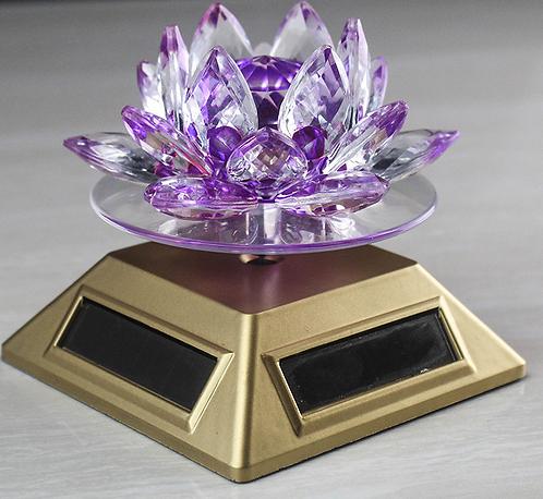 Prayer Wheel, Solar, Purple Lotus Flower