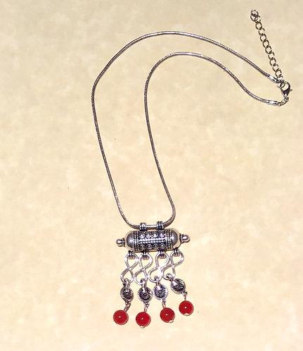 Necklace, Silver Barrel, Carnelian, #Sale, #Tibetan, #silver,#necklace