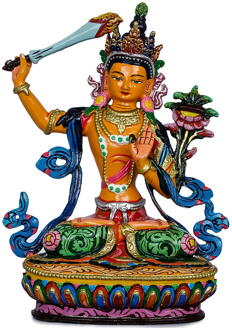 Statue, Manjushri, Copper, Fully Hand Painted, OM, Buddha, New! Gift