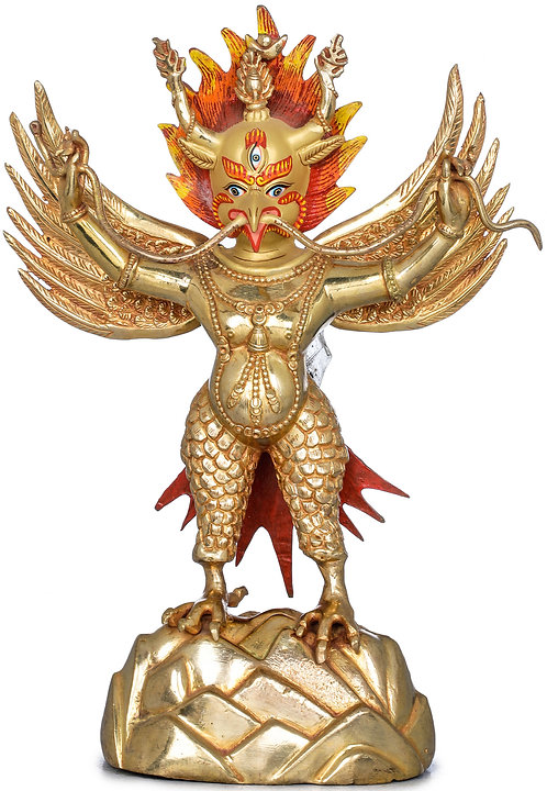 Statue, Standing Garuda, 24K Gold, Copper, 11 inches Tall, Fine, Only One!