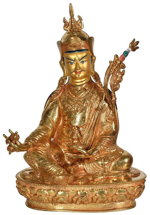 Statue, Guru Rinpoche, 24K Gold, 13in tall, Excellent Quality