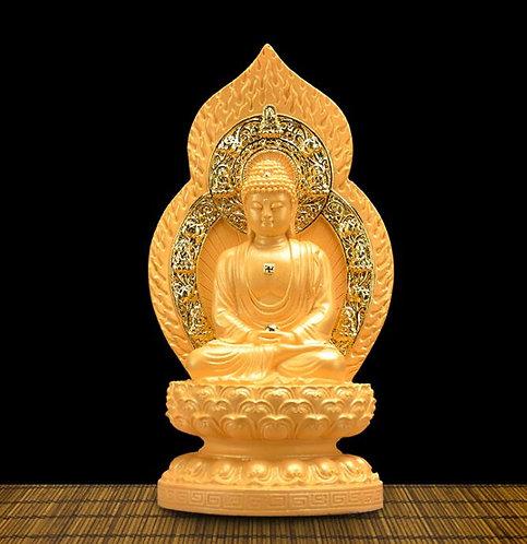 Amitabha Buddha Statue, Hand Carved, Hand Painted, Buddha, buddhist