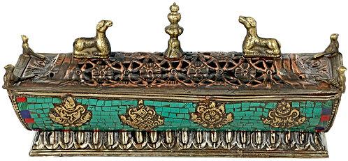 Incense Burner, Tibetan, Brass, Copper, Coral, Turquoise, Coral, Gift Idea!