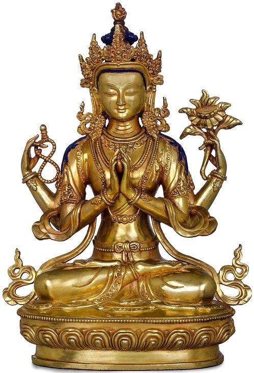 Statue, Chenrezig, 24K Gold, 12 in tall, Buddha of Compassion, Avalokiteshvara