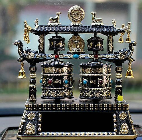 Prayer Wheel, Double Wheel, Pagoda, Solar, Battery, Black, Music, Mantr