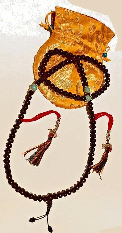 Mala, Rosewood, 108 Beads, Handmade, Free Silk Bag
