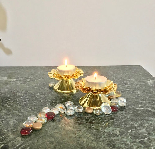 Lighting, Home Decor, Gold Lotus Tea-light with leaves Set