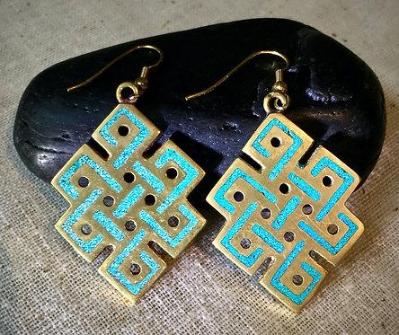 Earrings, Everlasting Knot of Love, Turquoise