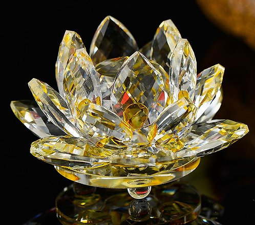 Gold Crystal Lotus Flower, Large, Beautifully Clear, Buddha, OM, #sale
