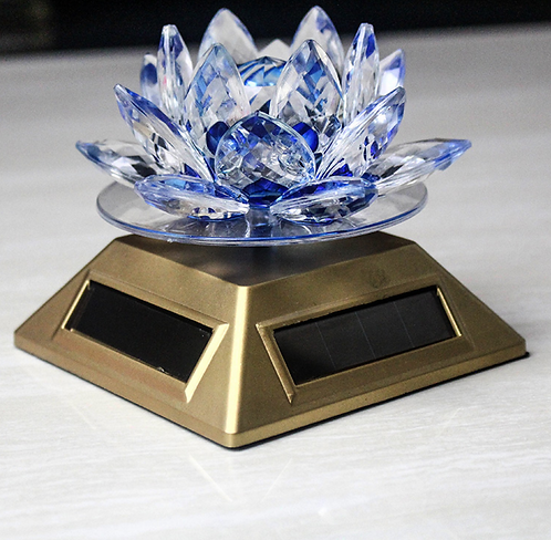 Prayer Wheel, Solar, Blue Lotus Flower