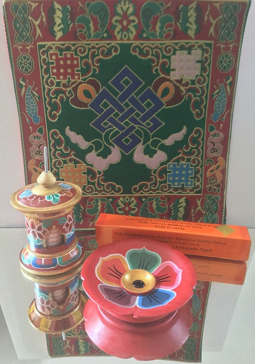 Mobile Meditation Kit with Incense Burner, Prayer Wheel, Brocade, #Buddha, #sale