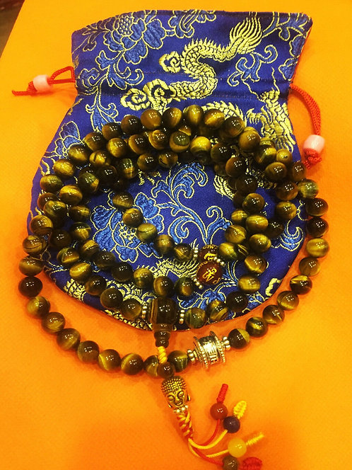 Mala, Tiger's Eye, 108 Beads, Handmade, Free Silk Bag