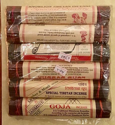 Incense, Six Pack, Tibetan, Nepal, Lord Buddha, Sandalwood, Jasmine, Goja, Amber